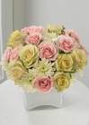 yellow roses and pink spray roses