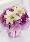 Lavender roses and white lilies