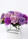 Lavender roses, carnations, and lisianthus
