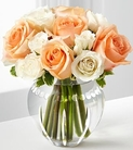 Peach roses and white spray roses