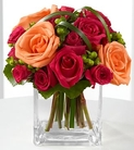 Fuchsia and orange roses