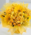 Yellow roses, spray roses, daisies, alstroemeria