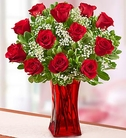 Blooming Love™ 12 Red Roses in Red Vase