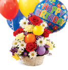 The FTD® Birthday Cheer™ Basket & Balloons