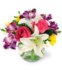 Pink Roses, Alstroemeria, Freesia, and Lilies