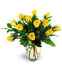 One dozen beautiful yellow roses in a clear glass rose vase