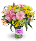 Roses, Mini Gerbera Daisies, and Alstroemeria