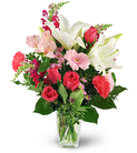 Oriental Lilies, Roses, and Mini Gerbera Daisies