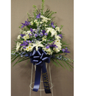 Blue & white standing basket
