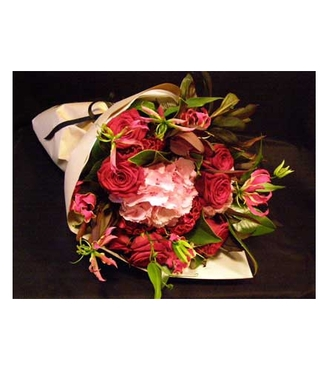 Flower Towne's Pink & Red Wrapped Bouquet