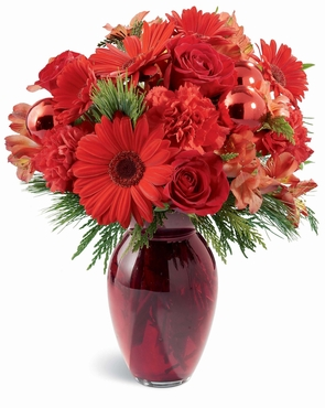 The FTD® Crimson and Evergreen™ Bouquet